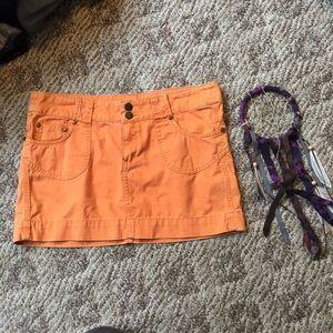 Anthropologie Twill Twenty two orange Jean Skirt